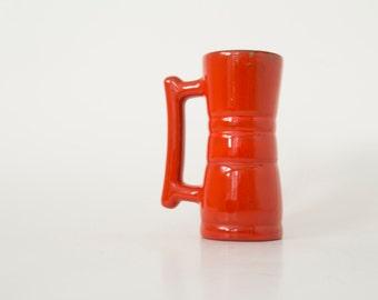 Clay Mug, Latte Mug, Espresso Mug, Vintage Frankoma Mug, 1970s Decor, Red Frankoma Coffee Mug,  Vintage kitchenware, tableware, ceramic clay