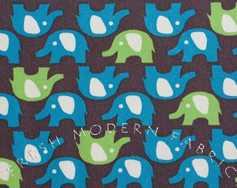 Fat Quarter of Trefle Elephants, Kokka Fabrics, Japanese Import, Cotton and Linen Blend Fabric