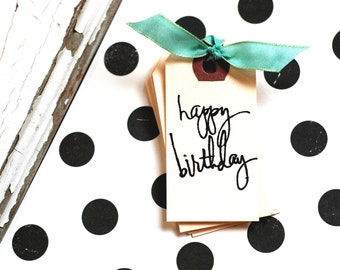 Happy Birthday Tag - 10 happy birthday mini gift tags - Happy Birthday - Gift Wrapping - Birthday Tag - Hand stamped Birthday Tag -Party Tag