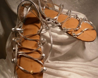 ATHENA  SILVER Metallic on Oak-Tan Lace Up Sandals