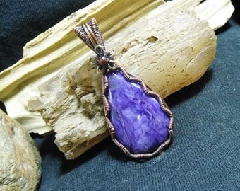 Deep Purple Russian Charoite Antique Copper Wire Wrapped Pendant