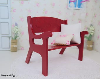 Panchina rossa in legno per Blythe doll
