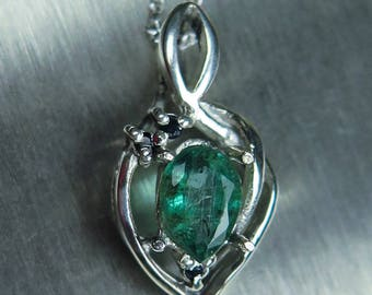 0.45ct Natural Emerald & sapphires 925 Sterling Silver, 9ct 14k 18k white yellow rose Gold Platinum Palladium pendant necklace with chain