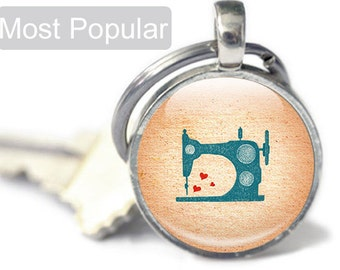 Gifts for Sewers - Gifts for Quilters - Sewing Keyring- Small Sewing Gifts Sewing Machine Keyring (KS1)