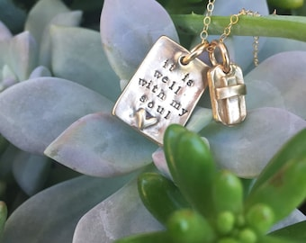 It is well with my soul... Fine Bronze and gold filled chain hand stamped faith necklace... ready to ship