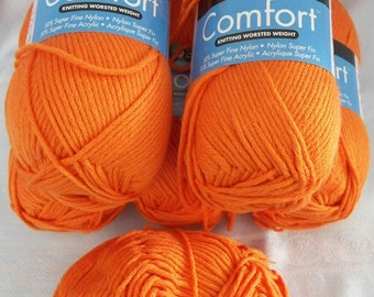 Berroco Comfort #9731 Kidz Orange 5 Full & 1 Partial Skeins Knitting Yarn