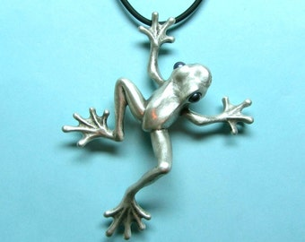 "Silver Frog Necklace With Pearl Eyes On Silicone Rubber Cord ""Froggz Only"" Collection - ""Ziley"""