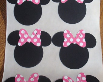 MINNIE MOUSE Heads Cut Outs Stickers Seals SET of 10