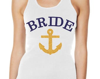 Hens Party Bachelorette Glitter Iron On Transfer - Bride with Anchor