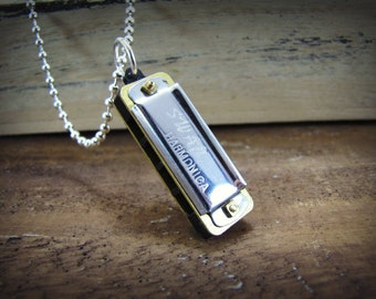 Harmonica Necklace Working Miniature Musical Instrument Jewelry