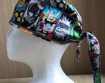 Surgical Theatre Scrub Hat/Cap One Size, Tie Back, Marvel Comic Book, Superhero Marvel, Marvel III Comic Book Heroes, Marvel Cartoon, Grey