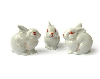 rabbit figurine, bunny figurine, figurine rabbit, white rabbit, ceramic rabbit, rabbit decor, Easter decor, porcelain rabbit, figurine set