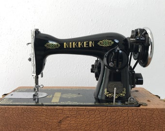 The Nikken Sewing Machine / Antique Sewing Machine / Antique Nikken Sewing Machine / Domestic Sewing Machine With Case / Rotary Sewing