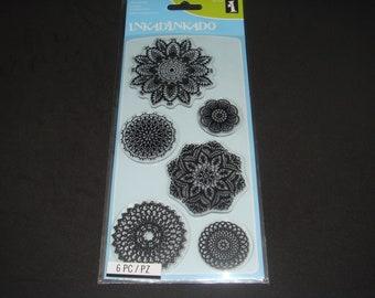 """Inkadinkado- Clear Stamp Set- 4"""" x 8""""- 6 piece set """"Decorative Doilies"""""""