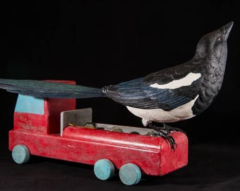 Magpie with Toy Truck