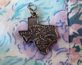 CHARM  STATE - Sterling Silver - TEXAS  - Fort Worth - Houston and more  - Marked Sterling Charm153