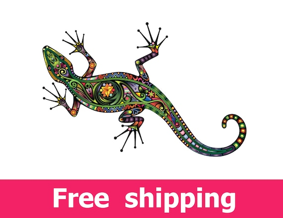 sc 1 st  Etsy & abstract lizard wall sticker colorful lizard wall decal
