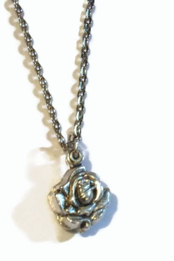 MIRACULOUS Medal Rose Locket Necklace |  CHOOSE silver plated OR stainless steel chain