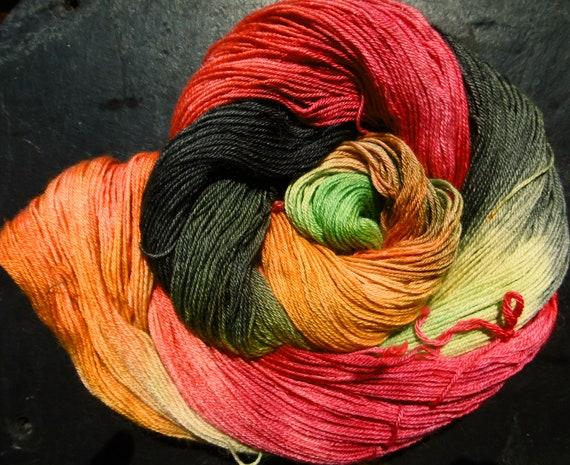 Elvincraft's Baby Alpaca/Silk 4ply sock Yarn Red Dragonfly Hand Painted