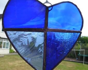 Blue Stained Glass Heart - Traditional Glass Suncatcher Light Catcher