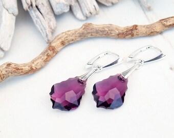 Amethyst Swarovski Earring-Swarovski Crystal Jewellery-Purple Dangle Drop Earring-Swarovski Baroque-Sterling Silver Earring-bridesmaid Gift