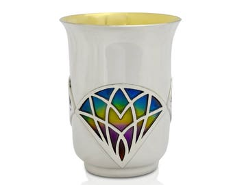 Silver cup & matched  plate, Shabbat Wine Goblet, Jewish art, Jewish art décor, Judaica gift, Judaica gifts, Nadavart, Wedding, Kiddush cup