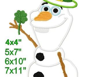 St Patricks 0laf Snowman Pinch Proof green hat clover Machine Applique Embroidery Design Pattern 4x4 5x7 6x10 7x11 INSTANT DOWNLOAD
