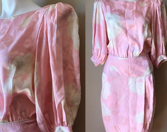 Vintage 1980s Flora Kung 100% Silk Pink and White Floral Dress Size 10