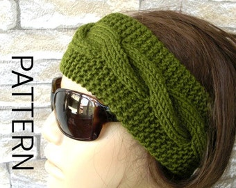 DIY Knitting PATTERN  PDF  Digital Headband Pattern   Instant Download   Cable Knit Headband  womens headband pattern Fall  Fashion