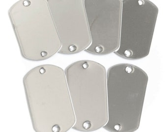 50 pieces 2-hole Blank Dog Tags Stainless Steel Military Spec Shiny Matte Finish Rolled Edge Army Style Free Shipping
