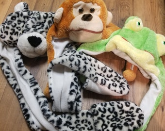Monkey, Frog and Leopard Beanie