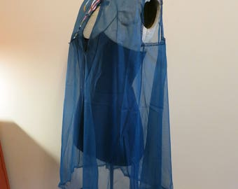 Vanity Fair lingerie sheer nightie nightgown mini babydoll pinup blue S
