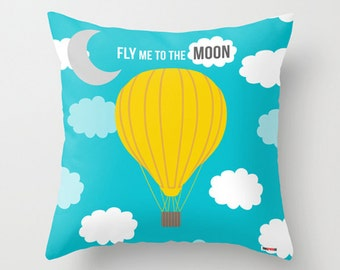 Romantic gift - pillow cover - hot air balloon pillow cover - Love pillow cover - Modern pillow cover - Christmas gift
