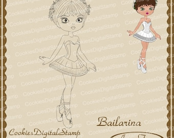 Bailarina Digital Stamp