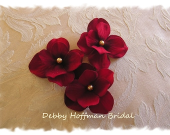 Red Wedding Hair Flowers, Bridal Hair Flowers, Flower Hair Pins, Deep Red Floral Bobby Pins, Set of 3, Bridesmaid, Flower Girl, No. 303DR