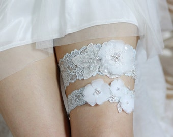 Blue Lace Garter Set, Wedding Garter Set, Lace Garter Set, Floral Garter Set, Bridal Garters