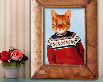 Cat Canvas Art print - Ski Sweater- ginger cat picture ginger cat gift for cat lover ginger cat print cat art ski lodge decor cabin decor