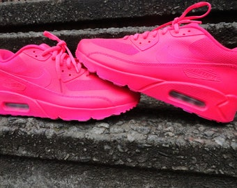big sale 62372 949eb ... promo code for custom painted airbrush nike air max 90 blue meets pink  unique style sneakers