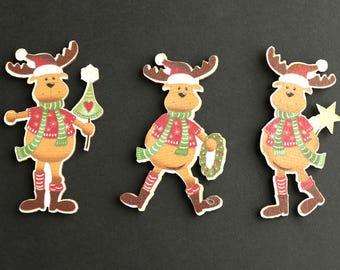 Christmas Reindeer Magnets. Holiday Magnets. Refrigerator Magnets. Set of Three. Christmas Magnets. Handmade Fridge Magnets. Home Decor.