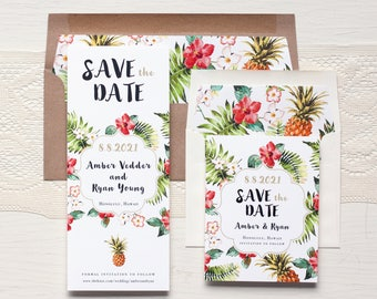 "Save the Dates, Kraft, Tropical Hawaiian Save the Date Cards, Destination Wedding, Envelope Liners - ""Pineapple Paradise"" Save the Dates"