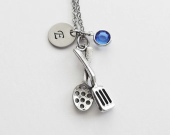 Cooking Utensils Necklace Kitchen Utensil Cooking Chef Cook Jewelry Swarovski Birthstone Silver Initial Personalized Monogram Hand Stamped