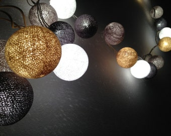 35 Bulbs Grey Stone cotton ball string lights for Patio,Wedding,Party and Decoration