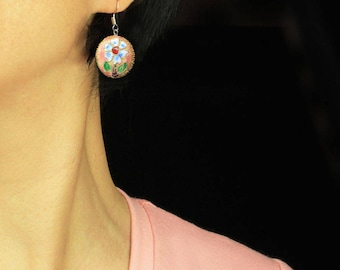Coral pink Asian cloisonne drop earrings Bridesmaid gifts Free US Shipping handmade Anni designs