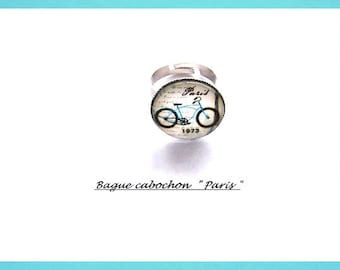 Adjustable ring,  fancy woman,  silver-plated glass cabochon,  Paris Eiffel Tower Bike Bicycle,  color blue black