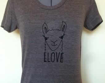 Women T-shirt-Llama-Love-Tricoffee-Small Medium Large Xlarge-Clothing-Animal