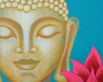 Buddha & Lotus 11 - Acrylic Painting