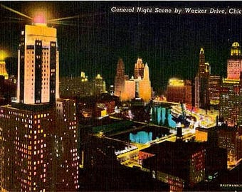 Vintage Chicago Postcard - Chicago by Night (Unused)