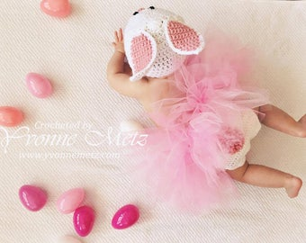 Newborn Easter  Bunny Diaper Cover Set with or without Tutu - MADE to ORDER, Easter Sunday, Baby Bunny Boy, Baby Bunny Girl