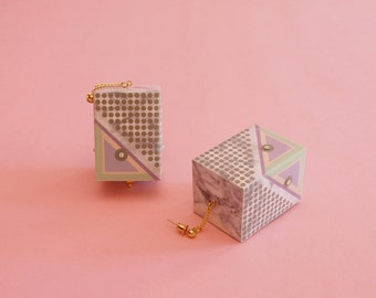 "Geometric Earrings // Marble Earrings // Mod Earrings // Pastel Earrings // Op Art Earrings // Art Deco Earrings// The ""Rudi"""
