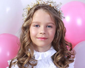 PIRLS GIRL TIARA Pearl and Crystal Flower Girl Tiara
